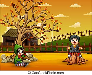 Illustration of kids playing in the garden