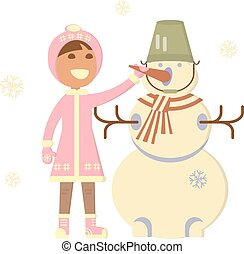 Baby girl with snowman