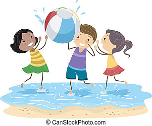 Beach Ball - Illustration of Kids Playing with a Beach Ball
