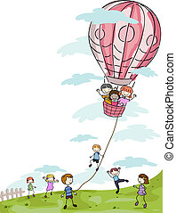 Kids Playing with a Hot Air Balloon - Illustration of Kids...