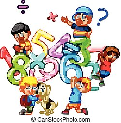 illustration of Kids playing with big number
