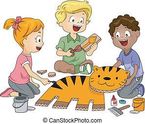 Illustration of Kids Practicing Paper Craft