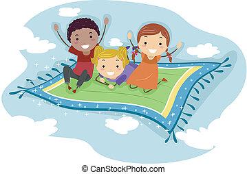 Illustration of Kids Riding a Flying Carpet
