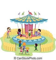 Merry-Go-Round - Illustration of Kids Riding a Merry-Go-...