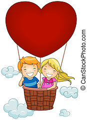Hot Air Balloon - Illustration of Kids Riding a...