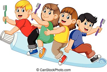 kids riding big tooth pasta and holding tooth brush