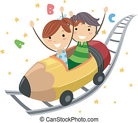 Pencil Ride - Illustration of Kids Riding on a Pencil Ride