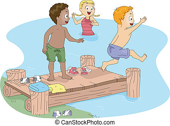 Kids Swimming - Illustration of Kids Swimming