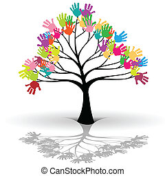 Kids tree - Illustration of Kids tree as a symbol of ecology...