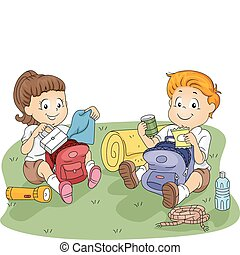 Kids Unpacking - Illustration of Kids Unpacking their...