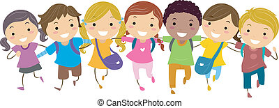 Walking Together - Illustration of Kids Walking Together