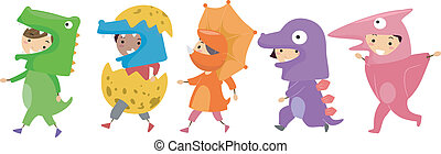 Dinosaur Costumes - Illustration of Kids Wearing Dinosaur...