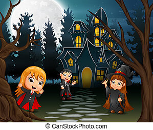 Illustration of kids wearing halloween costume outdoors in the night