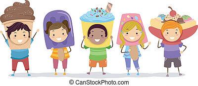 Ice Cream Costumes - Illustration of Kids Wearing Ice Cream...