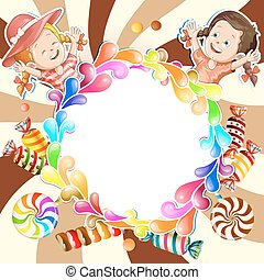 Illustration of kids with chocolate background