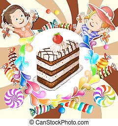 Illustration of kids  with chocolate cake and candies