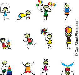Illustration of kids(children) playing and having fun at school. The girls and boys are skipping, playing ball and balloons, running, jumping, alphabet blocks, and other fun activities