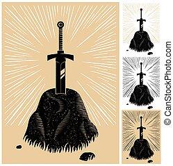 Excalibur - Illustration of King Arthurs Excalibur linocut...