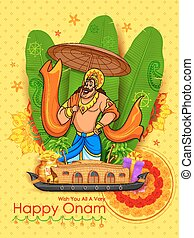 King Mahabali in Onam background showing culture of Kerala