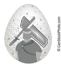 Illustration of Knight And Armor Painted on Easter Egg