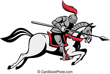 illustration of knight with lance riding horse isolated on white