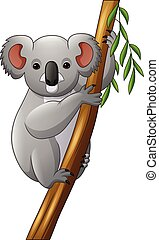 Illustration of koala on a tree branch