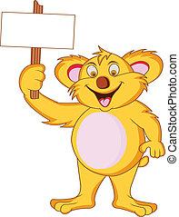 koala with blank sign - illustration of koala with blank...