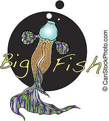 illustration of koi carp, fish.