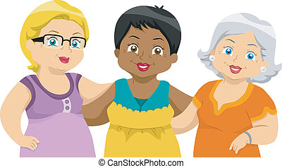 Senior Citizens Friends - Illustration of Lady Senior...