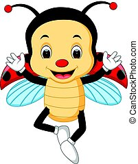 ladybug waving hand with wing