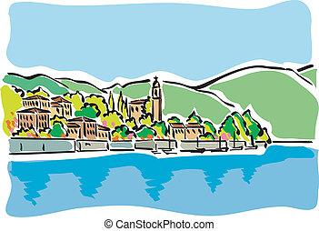 Lake Como - illustration of Lake Como