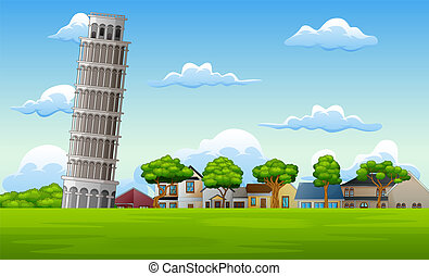 Illustration of landscape background with pisa tower