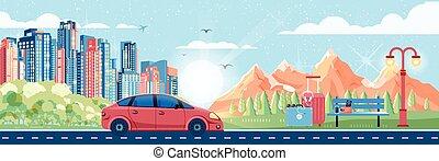 illustration of landscape - Stock vector illustration of day...
