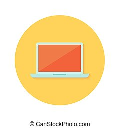 Lapton icon over orange