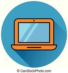 laptop circle blue flat icon