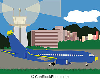 Illustration of Large Passenger Plane Landing at Airport