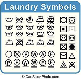laundry symbols set on white background
