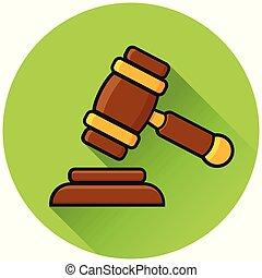 law circle green flat icon