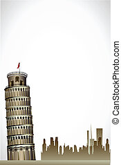 illustration of leaning tower of pisa on white background