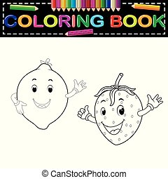 lemon with and strawberry with face coloring book