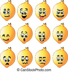 lemons with different emoticon