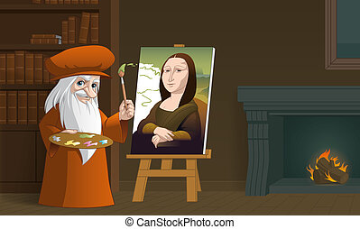 Leonardo da Vinci painting the Mona Lisa