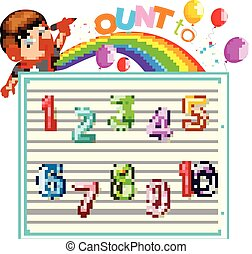 illustration of Let's count to ten