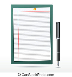 letter pad with pen - illustration of letter pad with pen on...