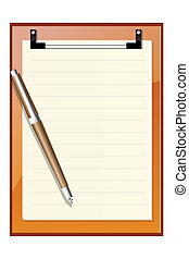 letterpad with ballpen - illustration of letterpad with...