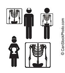 Illustration of Life icons, x-ray symbol, vector illustration