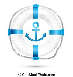 lifebuoy - illustration of lifebuoy on white background