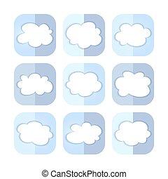 Light blue cloud icon set