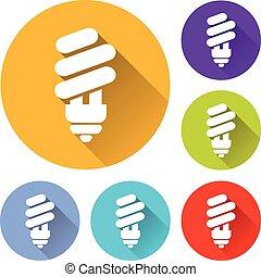 light bulb circle icons set