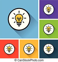 light bulb icons with long shadow